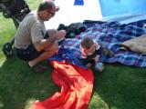 preparing for mor comfort in the tent