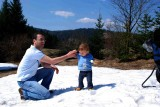 My first steps in snow. Uncle Minas is helping me not to fall