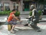 Ashot challanging a Backgammon game