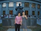 with mom in front of Katchadourian statue