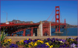 Golden Gate Bridge with a floral composition