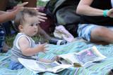 Is she reading the festival program?