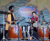Kelvin Underwood (left) and Masato Baba of On Ensemble, Japanese Taiko from L.A.