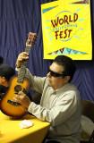 Cesar Rosas signs mini-guitar