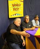 David Hidalgo, Conrad Lozano, and Steve Berline do the shake and howdy with fans