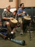 David Blonski (left) gets in on the late night drumming