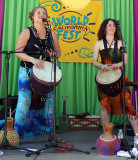 Mariposa Oxenberg (left), Ariella Kristol Forstein of Yeh Dede - Afro-Cuban, African, Middle Eastern rhythm group from L.A.