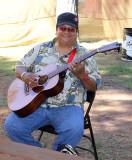 Renowned Hawaiian slack key guitarist Ledward Kaapana, backstage