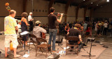 Chico, CA's Pub Scouts leads contra dance, Welcome Stage building