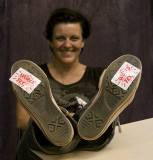 Bluehouse's Jacqui wearing her WorldFest alliance on her feet