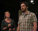 A jealous Leontes, King of Sicilia, played by Sean Green confronts Hermione