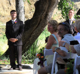 Jake the groom, as his mother glances back