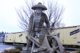 22-foot statue at Auburn's old train station honoring late-19th-century Asian laborers