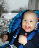 nine months old on a snowy day in fishers!