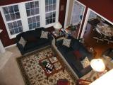 shot from upstairs of family room- looks like people live here!