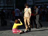 Woman photographing son, Duomo     7896