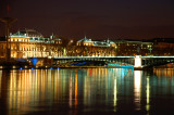 Lyon Rhone river at night