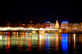 Lyon Rhone river at night 2