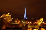 Pont Alexandre with blue Eiffel