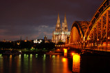 Cologne Cathedral bridge view night shot
