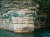 Copper Oxide stains at the entrance of Chapel Cave - Picture Rocks National Lakeshore