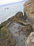 Catch basin viewed from above. Large wall and outfall pipe at right. Blow hole & notch at left.