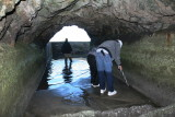 Inside the channel, opening to catch basin