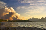Sunset, from Colter Bay (Bearpaw Bay Fire), Grand Teton National Park