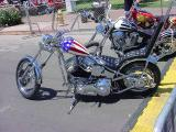 custom chopper red white and blue
