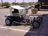 1923 T bucket roadsterparked at Dunkin Donuts