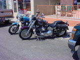 motorcycles out front
