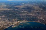 Aerial view of Toronto Humber River and Mimico Creek at Humber Bay and High Park