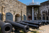 Row of cannons under a signal mast at the Citadel in Halifax Nova Scotia