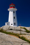 Peggys Cove white lighthouse against a blue sky with mother and daughter tourists