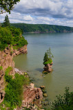 Flowerpot Rock and coast at Fownes Head lookout on the Fundy Trail Parkway New Brunswick