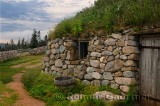 Gaelic Black House of stone with sod roof at Highland Village Museum Iona Cape Breton