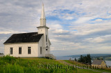 Historic church at Highland Village Museum Iona Cape Breton with Great Bras dOr Lake