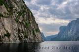 Steep Igneous rock wall at Western Brook Pond inland fjord at Gros Morne National Park Newfoundland