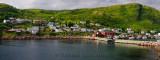 Panorama of Petty Harbour-Maddox Cove houses on hillside Avalon Peninsula Newfoundland