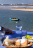 Lunch table overlooking the Atlantic Ocean coast at Oualidia Morocco