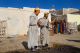 Moroccan street musicians playing Andalusian folk music on rabab and bendir in Essaouira