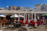 Outdoor patio cafe in a square of the medina of Essaouira Morocco