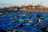 Sea of blue boats at sunrise in the marine port of Essaouira Morocco