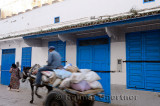 Moroccan man on a pony drawn cart in Essaouira Medina with blue doors in early morning