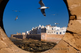 North bastion and ramparts of Essaouira Morocco viewed from Sqala du Port keyhole window