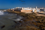 Atlantic coast and sea bastion ramparts of Essaouira Morocco viewed from Sqala du Port