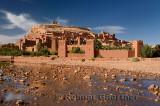 Ait Benhaddou with shallow water of Ounila River or Wadi Mellah near Ouarzazate Morocco