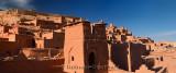 Panorama of Ochre buildings at the historic earthen ksar of Ait Benhaddou near Ouarzazate Morocco