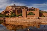 Ait Benhaddou reflected in the water of Ounila River or Wadi Mellah near Ouarzazate Morocco