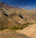 Berber village along a green valley at the Tizi n Tichka Pass over the High Atlas Mountains
